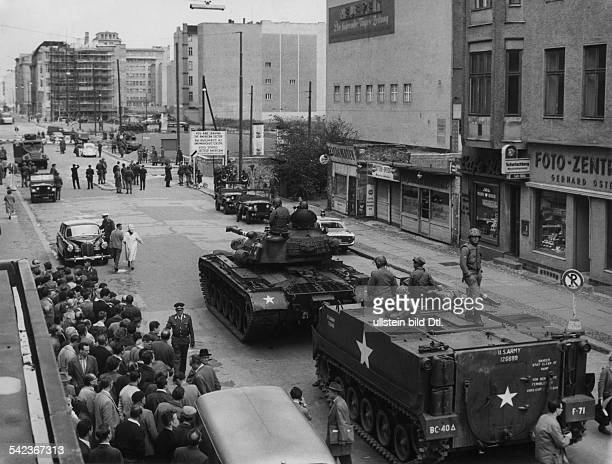 Germany / GDR Berlin The building of the wall US tanks at Checkpoint Charlie August 1961
