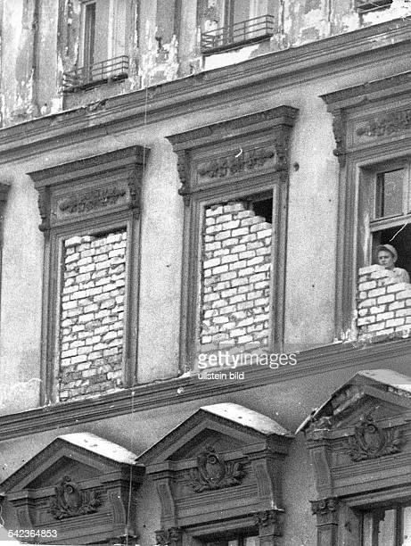 Germany / GDR Berlin Walled up windows at Bernauer Strasse 1961