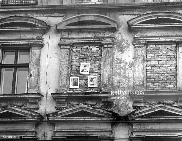 Germany / GDR Berlin Walled up windows in house next to the wall at Bernauer Strasse 1962