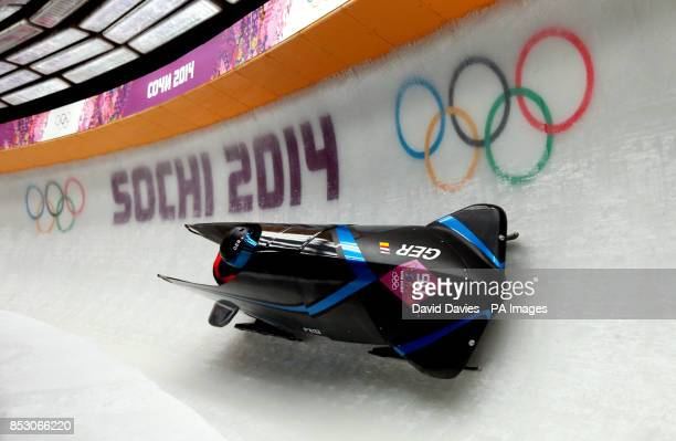 Germany GER3 piloted by Anja Schneiderheinze with brakeman Stephanie Schneider in the Women's Bobsleigh during the 2014 Sochi Olympic Games in Sochi...