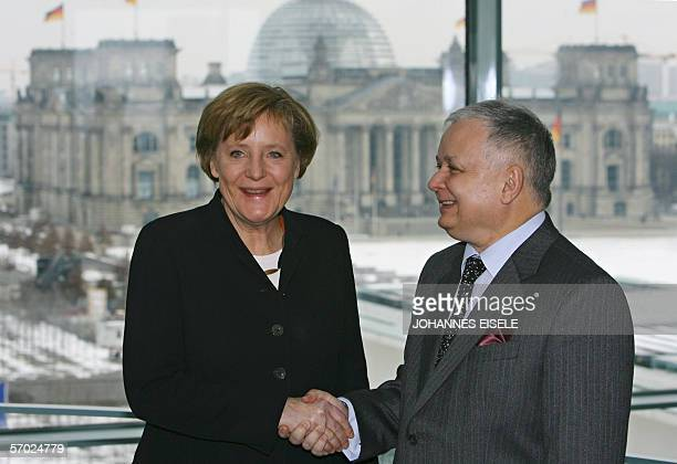 German Chancellor Angela Merkel welcomes Polish President Lech Kaczynski 08 March 2006 at the chancellery in Berlin in background is seen the...