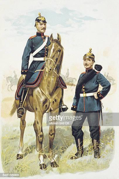 Germany german empire 18701914 military Uniforms Prussia artillerymen lithograph ca 1900