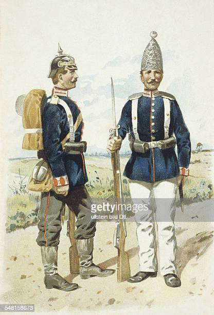 Germany german empire 18701914 military Uniforms Prussia Grenadier Guards on the right dress uniform um 1900 lithograph