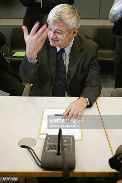 German Foreign Minister and the Greens Party highest-profile member Joschka Fischer waits for the beginning of a meeting with his parliamentary group...