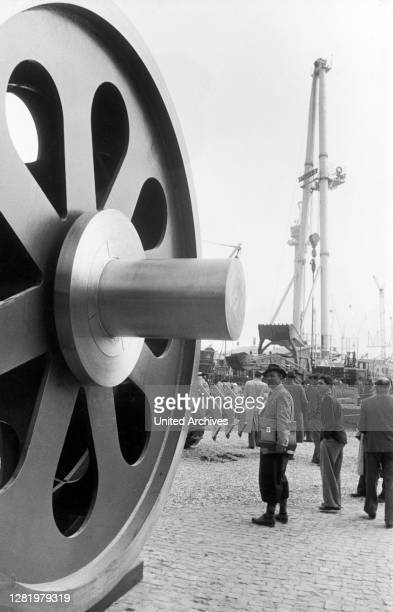 Germany - German industrial fair 1956 in Hanover, wheel center for AEG marine turbine gearboxes of 20,000 WPS.
