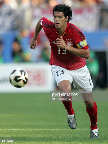 German midfielder Michael Ballack eyes the ball during the Confederations cup semi-final football match Germany vs Brazil, 25 June 2005 at the...