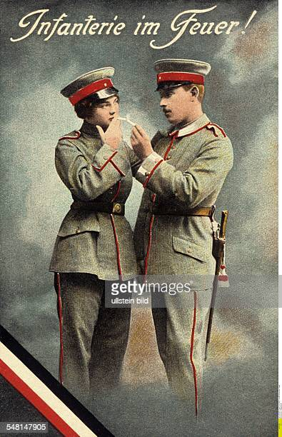 German postcards sent from the front during World War I Male and female soldier with cigarettes 19141918