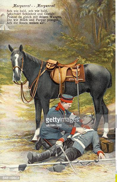 German postcards sent from the front during World War I Soldier with a wounded comrade and horse 19141918