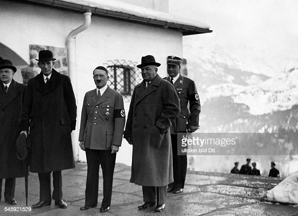 Germany German Reich The Viscount Halifax arriving at the Berghof near Berchtesgaden to the right of Hitler Foreign Minister Konstantin Freiherr von...