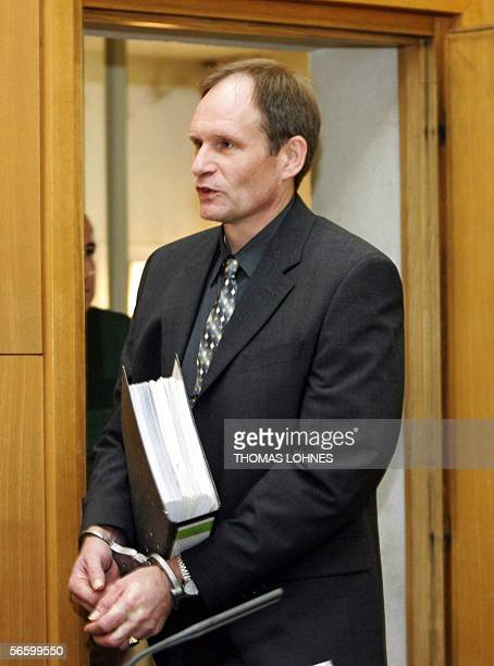 Germany's selfconfessed cannibal Armin Meiwes arrives for the second day of his retrial for murder 16 January 2006 at court in Frankfurt/M In the...