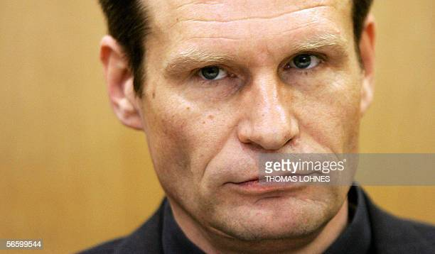 Germany's selfconfessed cannibal Armin Meiwes waits for the beginning of the second day of his retrial for murder 16 January 2006 at court in...