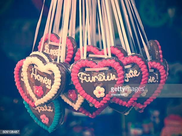 Germany, gingerbread hearts at fair