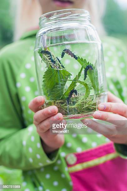 Germany, Girl holding glass with caterpillar of peacock butterfly