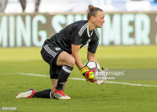 Germany goalkeeper Almuth Schult saves a goal during SheBelieves Cup between Germany and France on March 7th 2017 at Orlando City Stadium in Orlando...