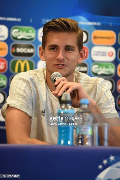 Germany goalkeeper Julian Pollersbeck during a press conference ahead of their UEFA European Under21 Championship 2017 semifinal match against...