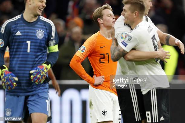 Germany goalkeeper Manuel Neuer Frenkie de Jong of Holland Leon Goretzka of Germany Toni Kroos of Germany during the UEFA EURO 2020 qualifier group C...