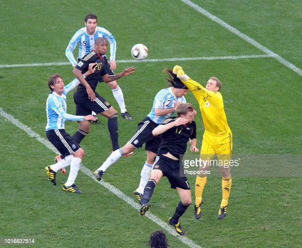 Germany goalkeeper Manuel Neuer in action during the 2010 FIFA World Cup Quarter Final match between Argentina and Germany at Green Point Stadium in...