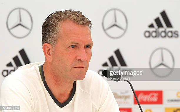 Germany goalkeeping coach Andreas Kopke speaks to the media during a press conference at the German national team's preEURO 2016 training camp on May...