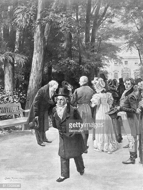 Goeth And Beethoven In Teplitz Beethoven refuses defiantly to bow before Furst Metternich while Goethe greets him