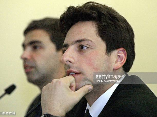 Google cofounders Sergey Brin and Larry Page address a press conference at the Frankfurt Book Fair 07 October 2004 AFP PHOTO JOHN MACDOUGALL
