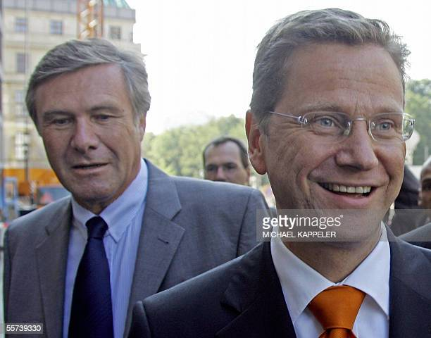 Guido Westerwelle head of the Free Democrats and his party's parliamentary fraction leader Wolfgang Gerhardt arrive on 22 September 2005 at the...