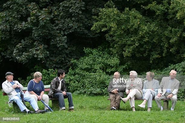 DEU Germany Hagen Senior citizen People sitting on a bench