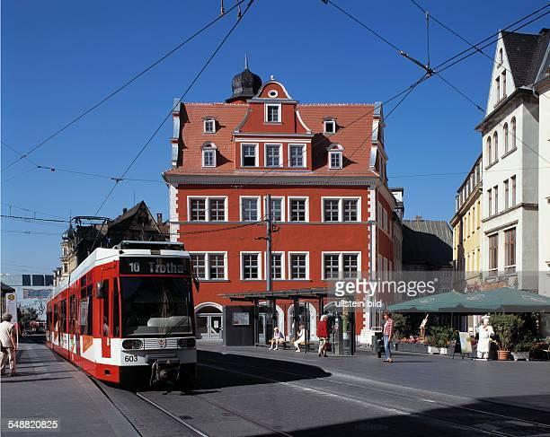 Germany Halle SaxonyAnhalt market place with Marktschloesschen renaissance building patrician house seat of the tourists office tram