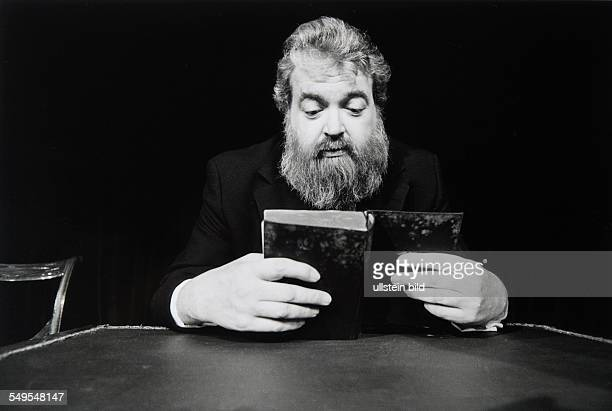 Germany Hamburg actor Helmut Qualtinger on stage reading the book Mein Kampf by Adolf Hitler