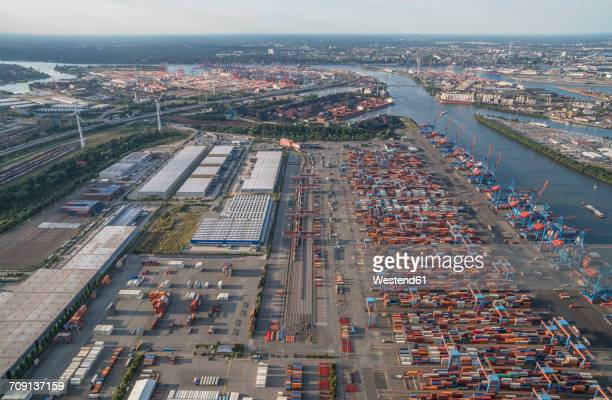 Germany, Hamburg, aerial view of container terminal Altenwerder