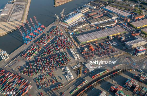 Germany, Hamburg, aerial view of container terminal Tollerort