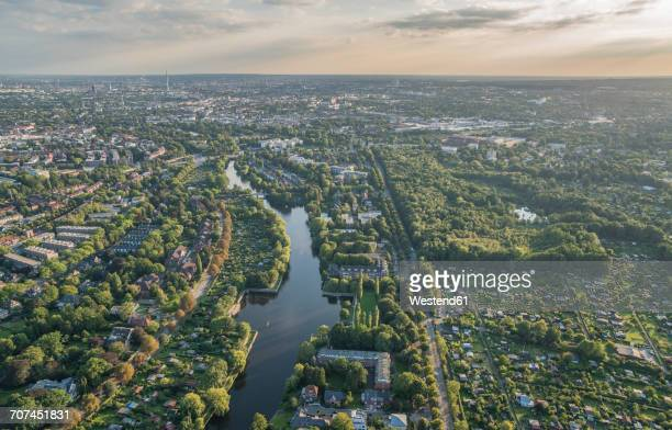 Germany, Hamburg, aerial view of district Alsterdorf with Eppendorfer Moor nature reserve