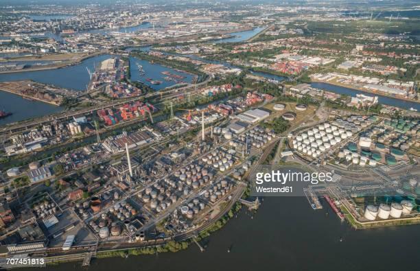 Germany, Hamburg, aerial view of harbor industrial area