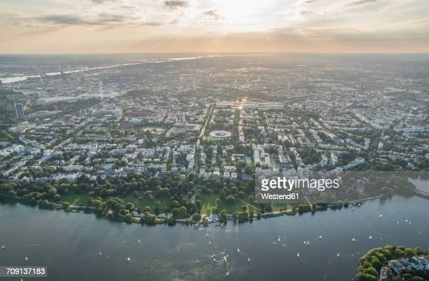 Germany, Hamburg, aerial view of Outer Alster Lake in the evening