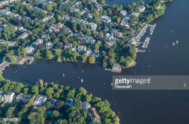 Germany, Hamburg, aerial view of Outer Alster Lake