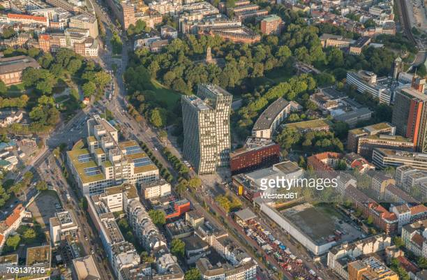 Germany, Hamburg, aerial view of St. Pauli with Dancing Towers office building
