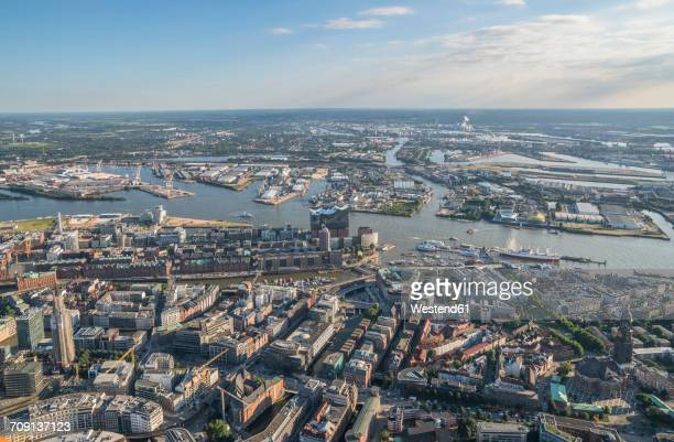 Germany, Hamburg, aerial view of the city center and Speicherstadt with Elbphilharmonie