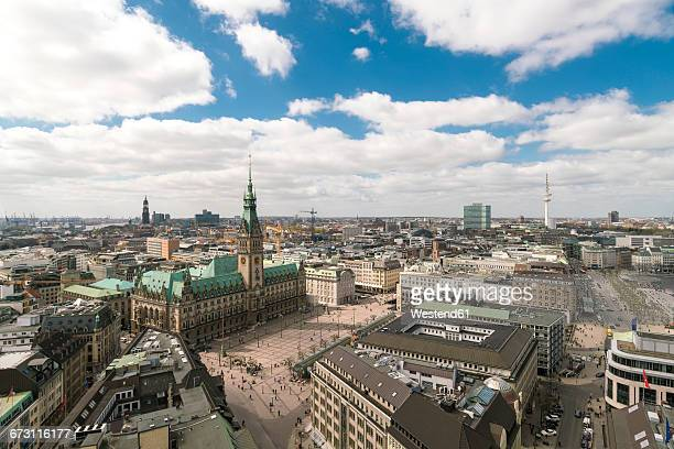 germany, hamburg, aerial view, town hall, old town, neustadt and - town hall square stock pictures, royalty-free photos & images