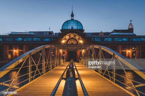 Germany, Hamburg, Altona, fish market hall at blue hour