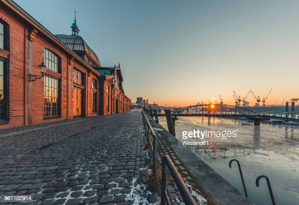 germany, hamburg, altona, fish market hall at sunrise - hamburg germany stock pictures, royalty-free photos & images