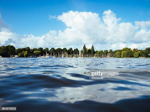 Germany, Hamburg, Aussenalster, Outer Alster Lake, harbour, sailing boats, water surface