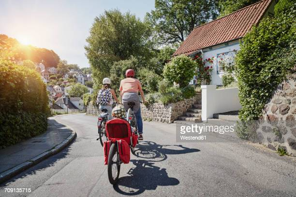 Germany, Hamburg, Blankenese, family riding e-bikes