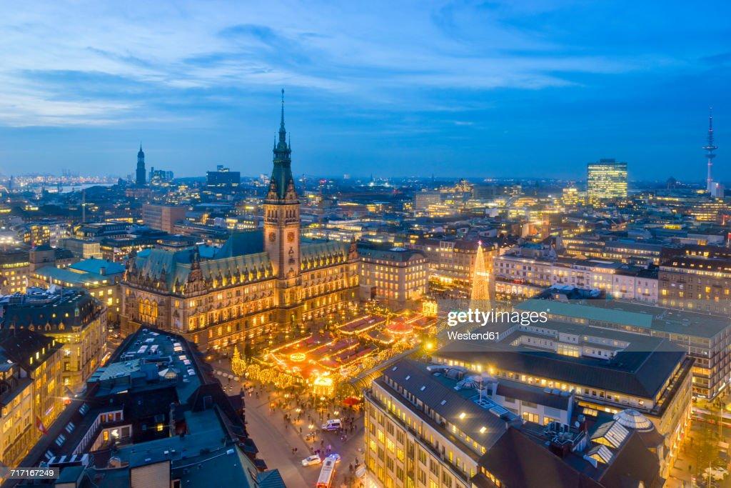 Germany, Hamburg, Christmas market at city hall in the evening : Stock Photo