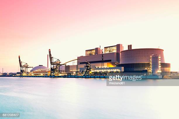 germany, hamburg, coal-fired power station moorburg at elbe river - coal fired power station stock photos and pictures