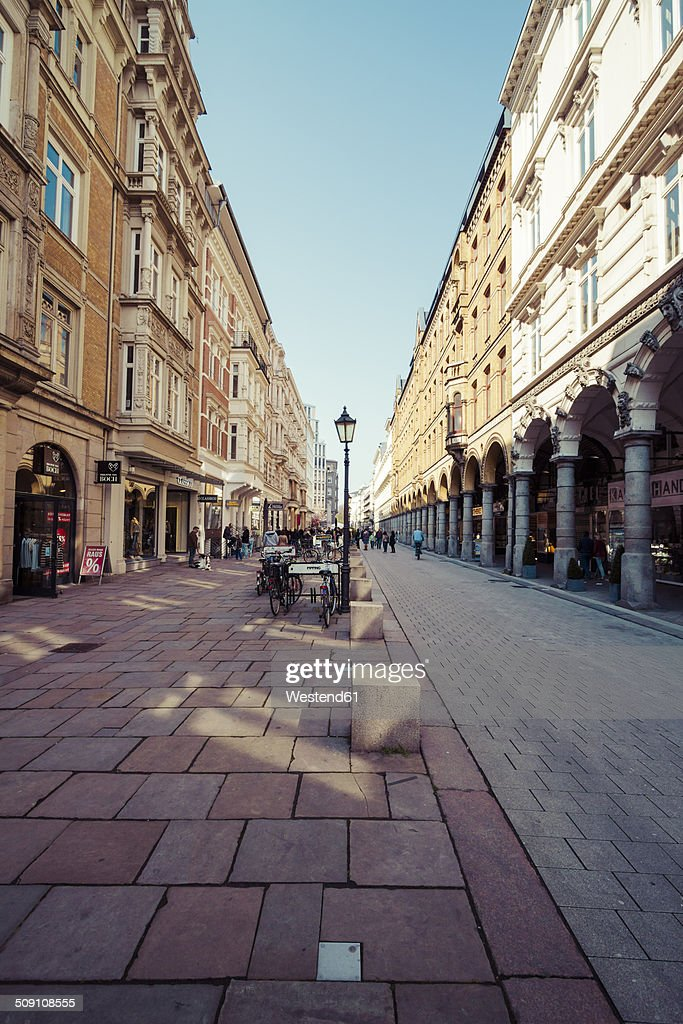 Germany, Hamburg, Colonnaden shopping street and buildings, Renaissance Revival : Stock Photo