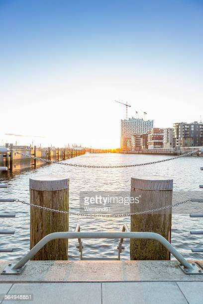 Germany, Hamburg, construction site of Elbe Philharmonic Hall by sunset
