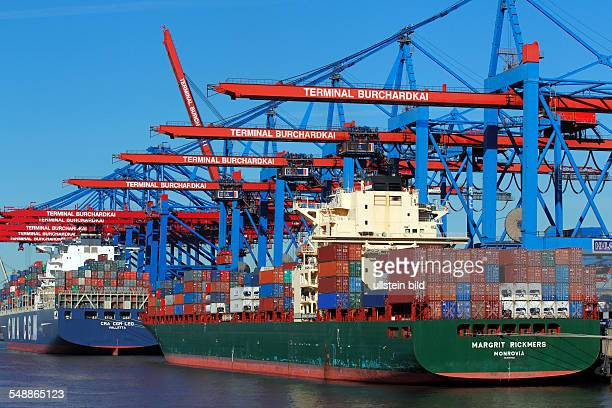 Germany Hamburg container ships 'Margrit Rickmers' and 'CMA CGM Leo' at containerterminal Burchardkai in Hamburg harbour at river Elbe
