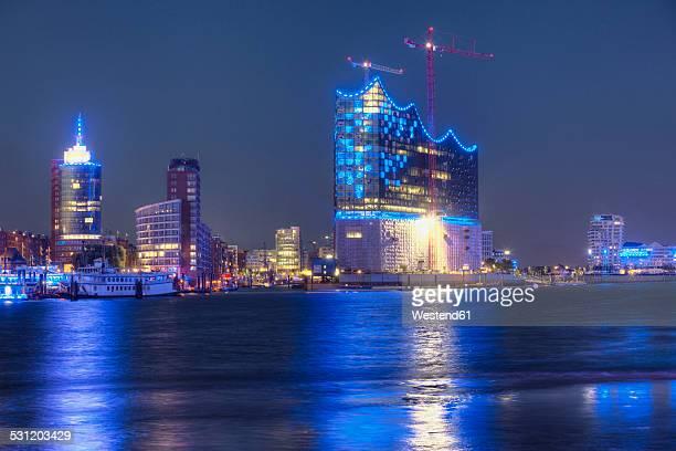 Germany, Hamburg, Elbe Philharmonic Hall at night