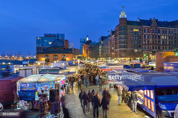 Germany, Hamburg, Elbe River,fish market in the morning