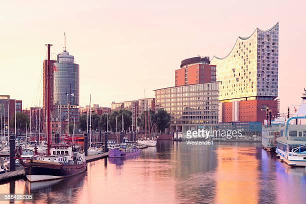 Germany, Hamburg, Elbphilharmonie and harbor in morning light