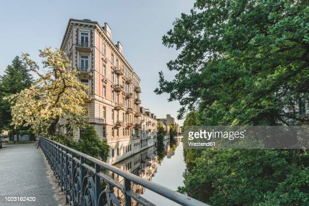germany, hamburg, eppendorf, residential buildings at isebek canal - hamburg germany stock pictures, royalty-free photos & images